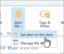 SharePoint 2016 Set alert on an item with item selected