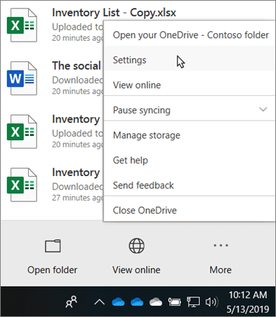 The activity center menu that appears when clicking on the OneDrive Educational icon