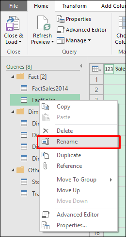Power Query - Rename queries directly from the Queries pane in the Query Editor