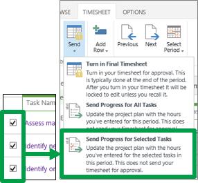 Send Progress for Selected Tasks