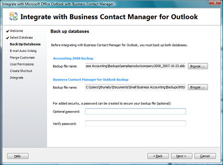 Integrate with Business Contact Manager for Outlook
