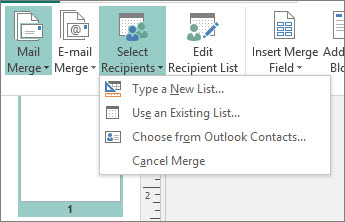 Mailings Select Recipient options
