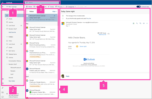 A screenshot of the Mail interface