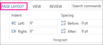 Image of Indent and Spacing options on Page Layout tab