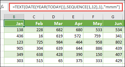 Use a combination of the TEXT, DATE, YEAR, TODAY, and SEQUENCE functions to build a dynamic list of 12 months