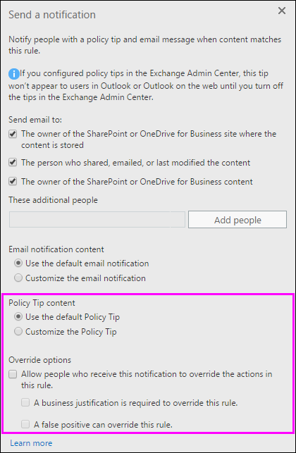 Policy tip options in Send a notification action