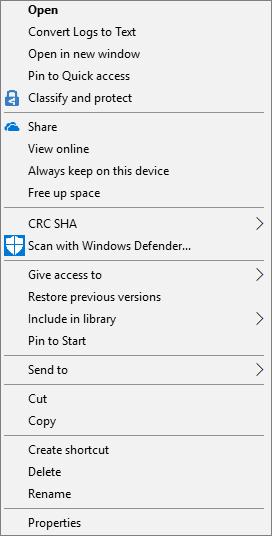 Context menu correctly displaying Share