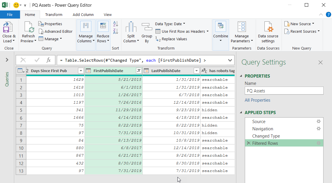 Power Query Editor displaying filtered results