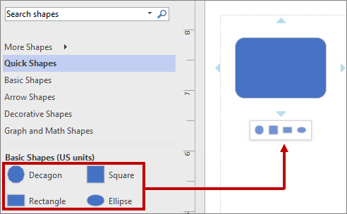 The mini toolbar using default basic shapes
