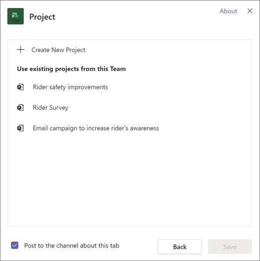 Screen shot of Project dialog in Teams