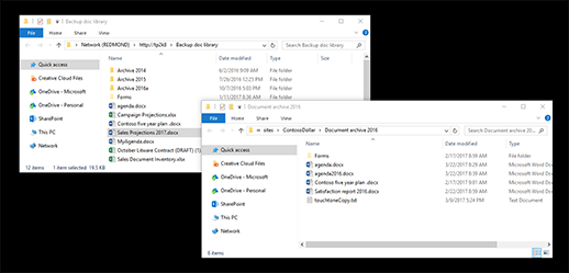 Copy or move library files by using Open with Explorer