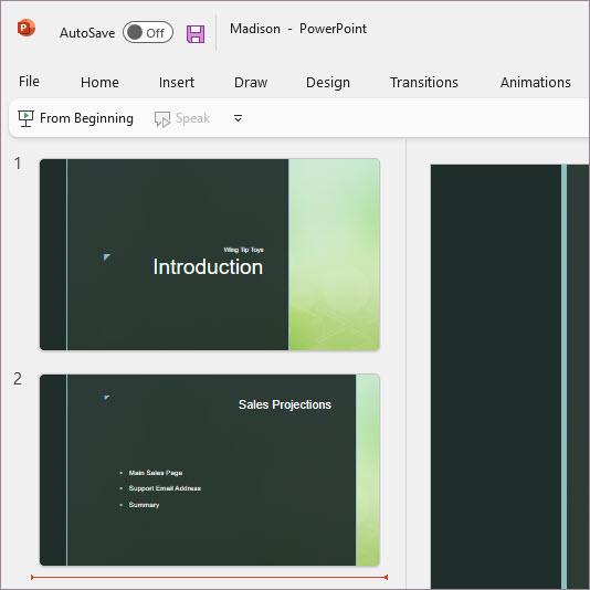 White theme in PowerPoint