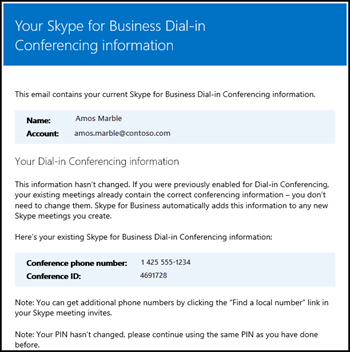 Dial-in conferencing email
