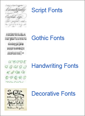 Fonts you can find on the web