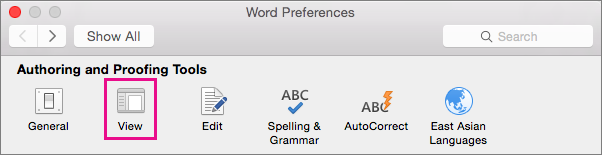 In Word Preferences, click View to change display preferences.