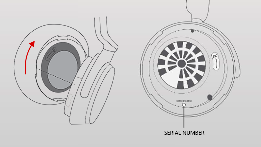 An image showing how to remove the right earmuff of the Surface Headphones.