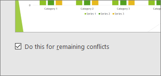 "Shows check box to ""Do this for remaining conflicts"" in PowerPoint"