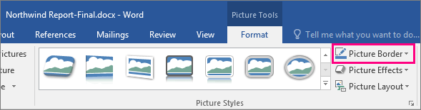 The Picture Border option is highlighted on the Pictures Tools Format tab.