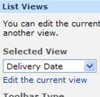 The Order List Web Part tool pane with the Delivery Date as the selected view.