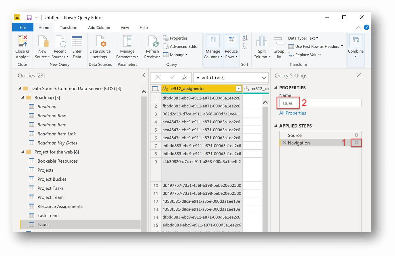 The query editor with Issues selected in the Queries pane. The number 2 appears next to the word Issues which is listed in the Name field under PROPERTIES, and the number 1 appears next to Navigation, which is selected under APPLIED STEPS in the Query Settings pane.