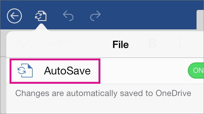 The AutoSave command in Word for the iPad