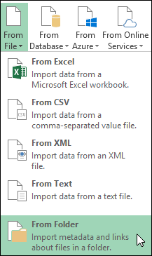 Power Query > From File > From Folder options
