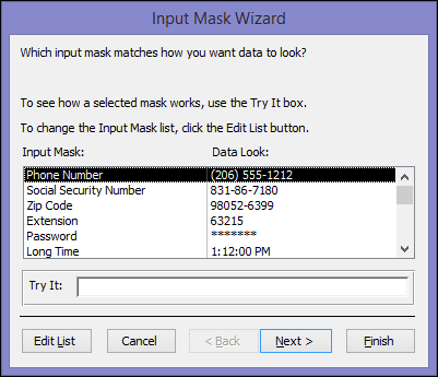 Input Mask Wizard in Access desktop database