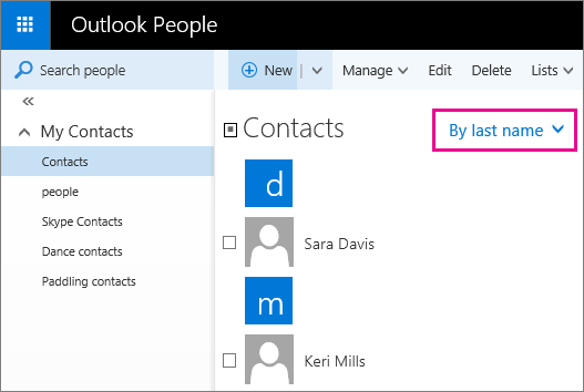 "Screen shot of the Outlook People page. The screen shot includes a callout for the filter menu in the middle pane. The callout shows that the menu name is now ""By last name."""