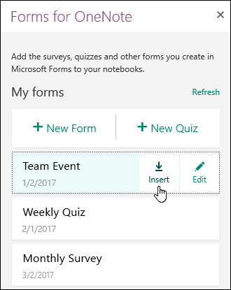 List of forms in the Forms for OneNote for the web panel