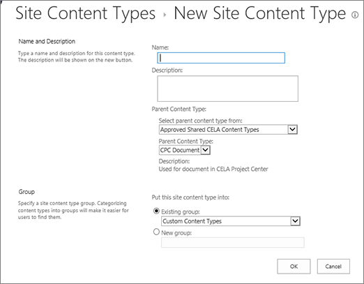 Content types creation dialog
