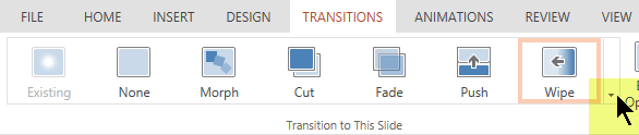 To open the complete gallery of Transition options, click the downward pointing arrow at the right end.
