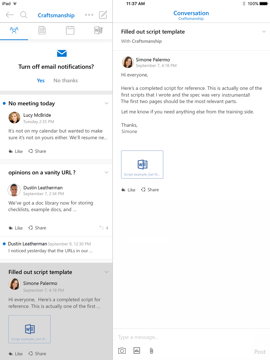 Conversation view in Outlook Groups for iPad