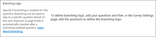 Branching logic section in new question dialog