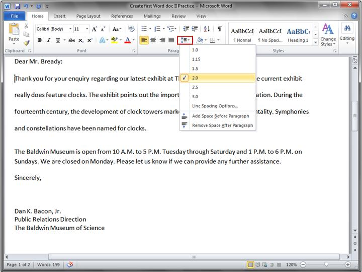 microsoft word how to change space between lines