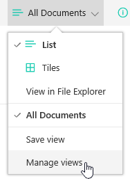View selection menu with Manage views selected