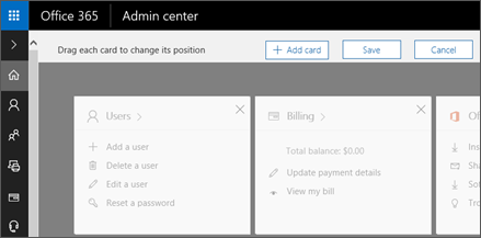 Shows the Admin Center Home page with grayed out appearance.