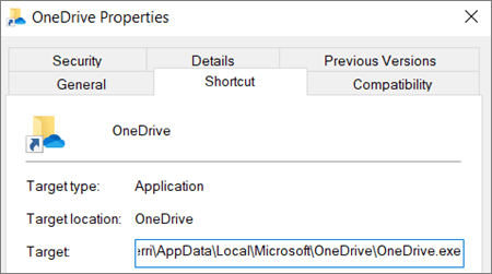 A screenshot showing the OneDrive application properties menu.