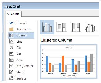 Create an excel chart in word word insert chart dialog box showing chart choices and preview ccuart Gallery