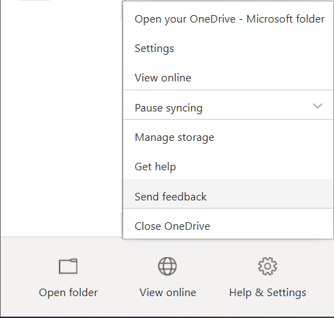 """Shows the """"Help & Settings"""" taskbar option, with """"Send feedback"""" highlighted in the resulting menu."""