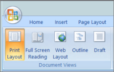 Screenshot shows the Document Views group with the Print Layout option selected. Other options available are Full Screen Reading, Web Layout, Outline, and Draft.