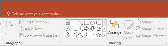 "shows the ""tell me"" search box on the ribbon in PowerPoint"