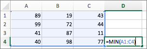 Example showing use of the MIN function