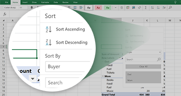 Excel worksheet with a PivotTable and a zoom on a set of features available