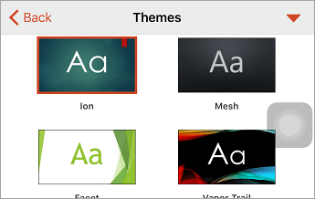 Themes command, with Ion selected