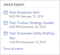 Yammer Group Events section showing a live event