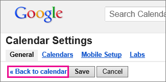 google calendar - click back to calendar