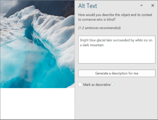 New Alt Text dialog box showing autogenerated alt text in Word