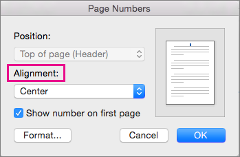 Select the alignment for your page numbers