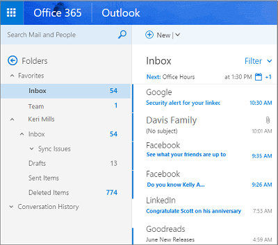 Primary view of Outlook on the web