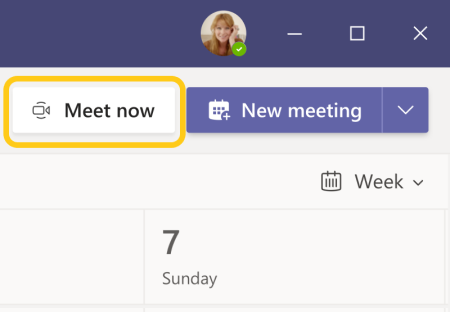Image of Meet now button in the Teams calendar